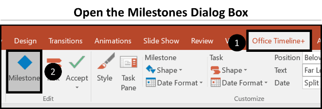 Office Timeline Gantt Chart Tricks 2.8 inverse layout - milestone dialog box