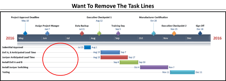 Office Timeline Gantt Chart Tricks 3.1 - task lines to remove