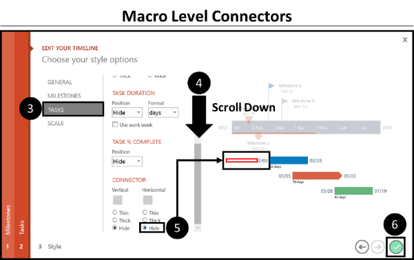 Office Timeline Gantt Chart Tricks 3.3 - scroll down and make the macro level selection