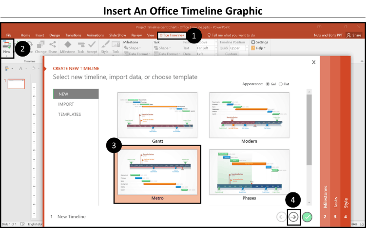Office Timeline Step 1 - Launch the wizard