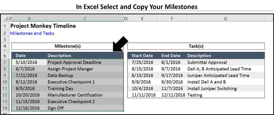 Office Timeline Step 2.1 - Copy your milestones in excel