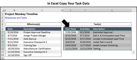 Office Timeline Step 3.1 - Copy tasks in Excel