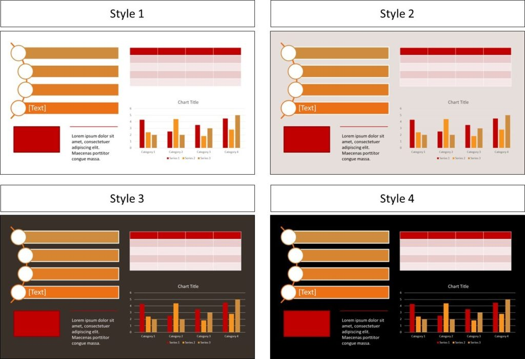 Examples of different theme colors applied to different presentations