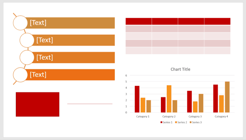 Examples of custom SmartArt styles, Shape styles, chart and table styles