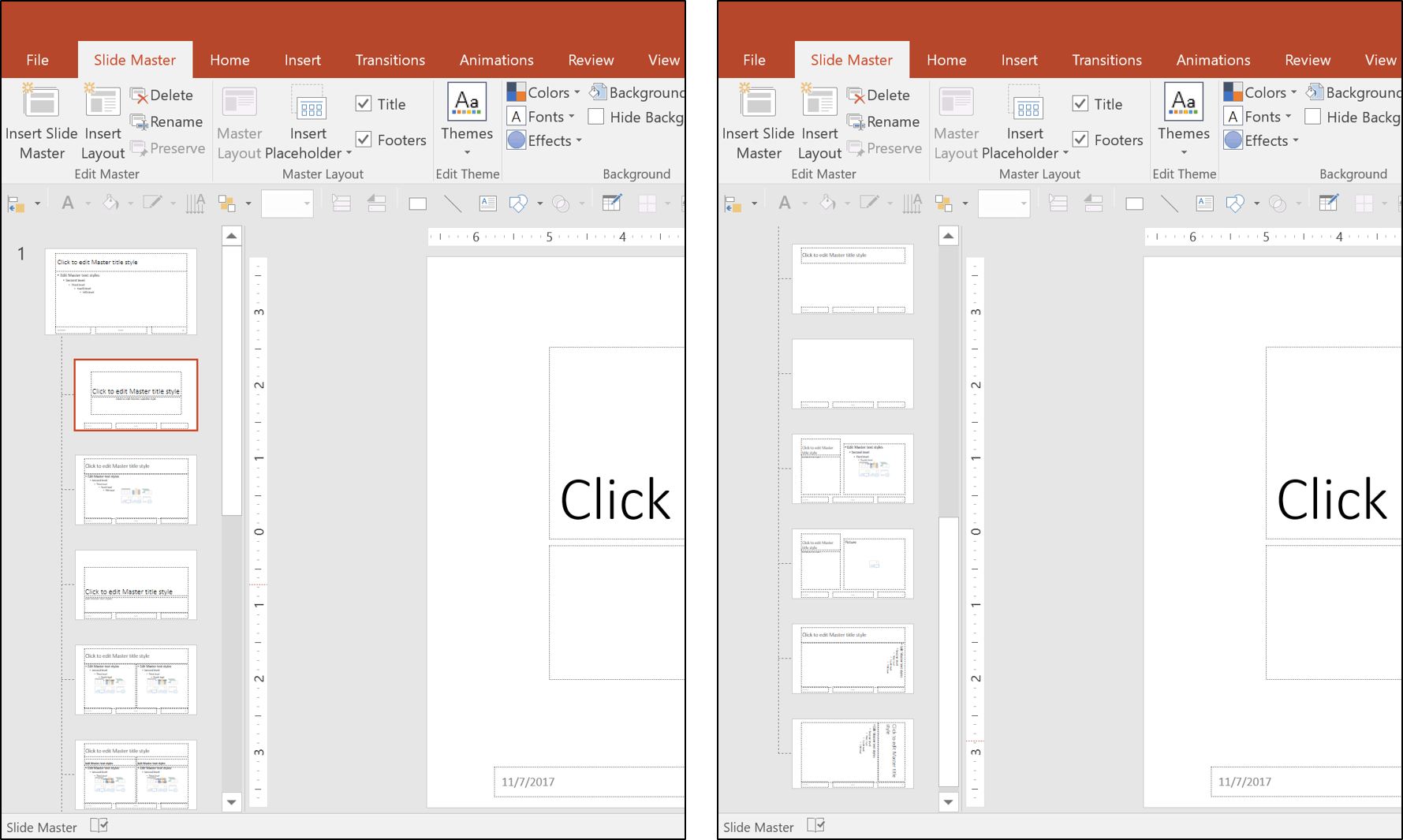 here are the layouts that come with a default powerpoint template