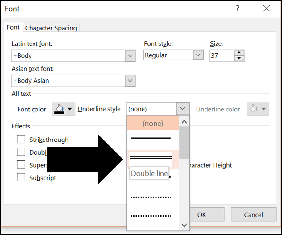 How to double underline in word excel and powerpoint for Underline the table