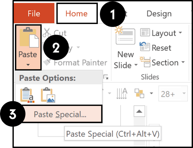 From the home tab, open the Paste drop down and select Paste Special