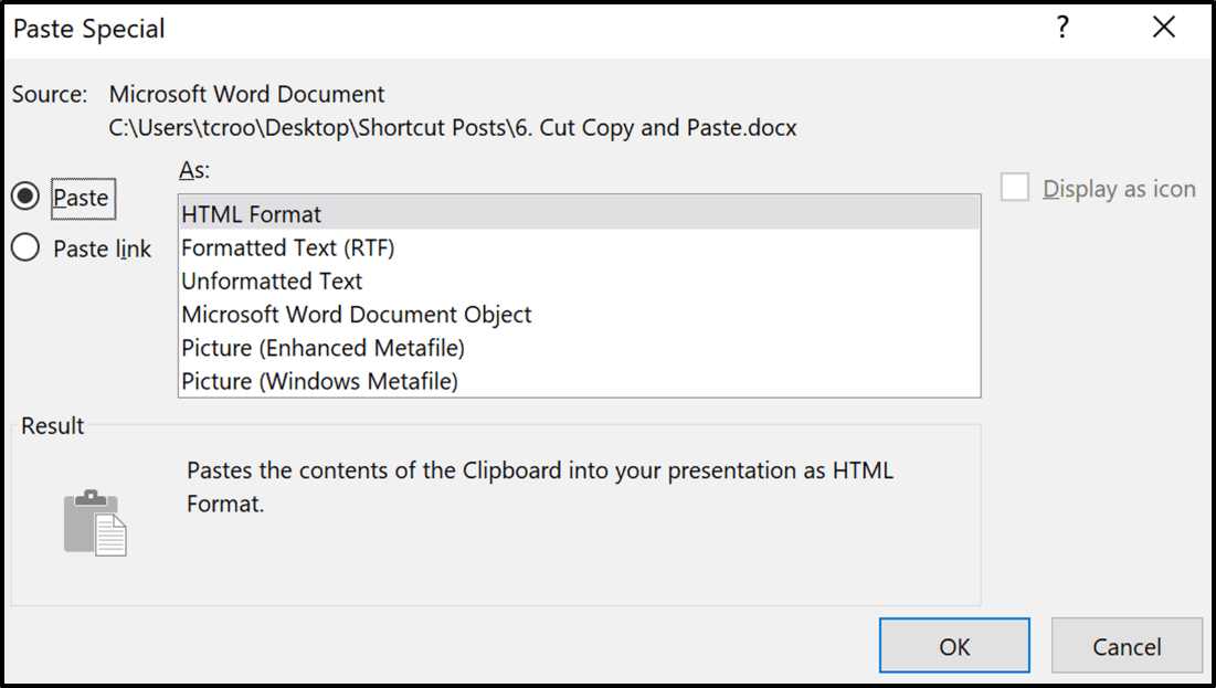 The Paste Special dialog box, giving you all the different formats you can paste things as