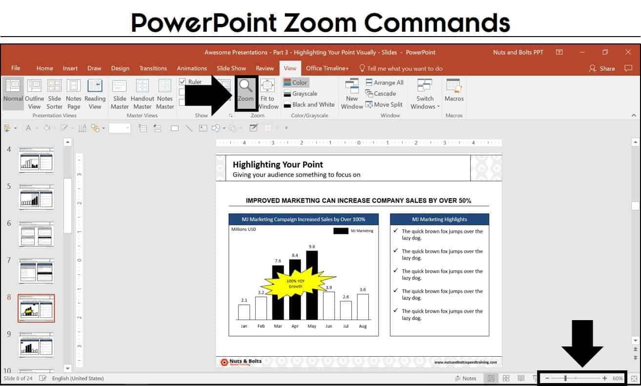 how to zoom in on powerpoint 3 different ways nuts bolts speed
