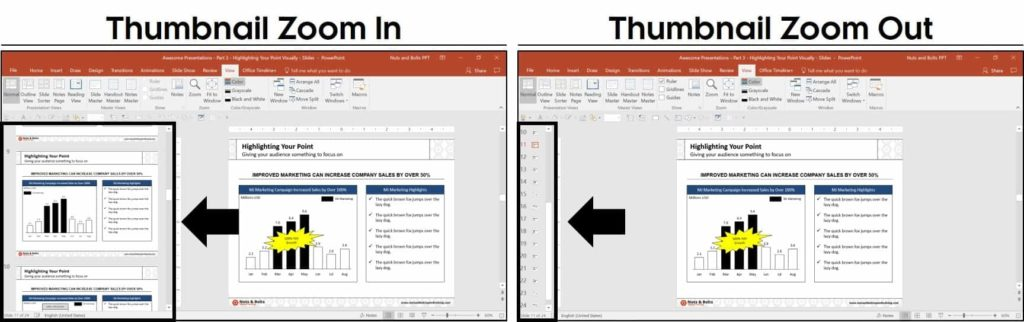 Examples of zooming in and out of the thumbnail view in PowerPoint