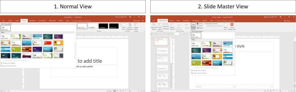 Example of the Normal View in PowerPoint versus the Slide Master view in PowerPoint