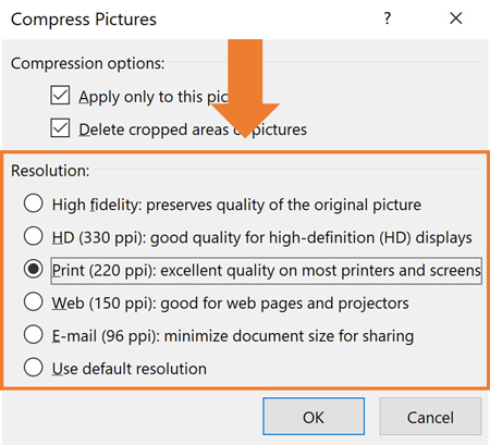 the compress pictures command resolution options