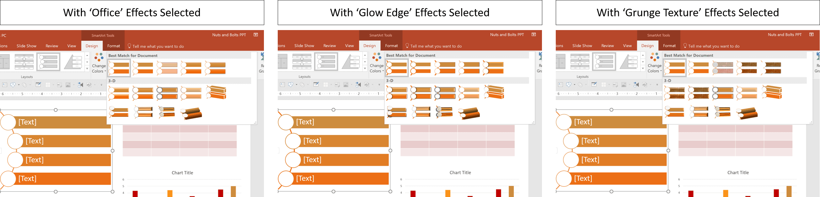 Comparison of object formatting between the Office Effects, Glow Edge effect and Grunge Texture effect as part of a PowerPoint theme
