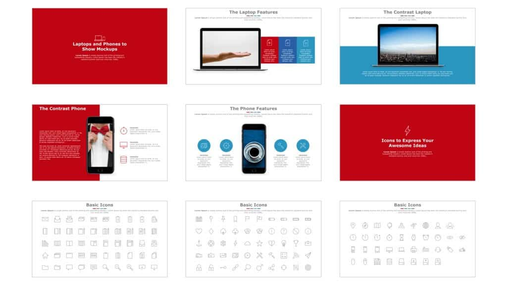 Slide examples from the sleek template
