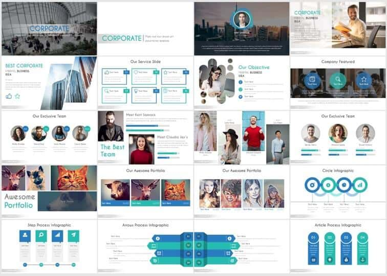 Example slides from the corporate template by inspiradesign