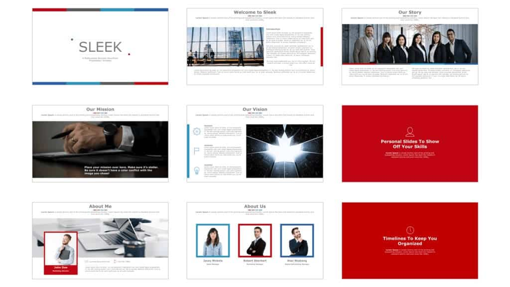 More examples of slide layouts from the Sleek template