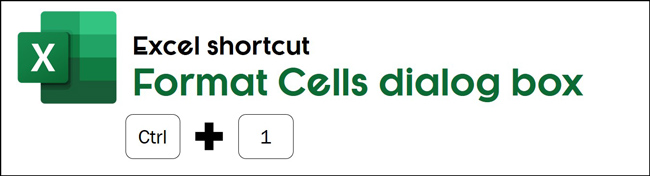 The format cells shortcut in Excel is control plus 1
