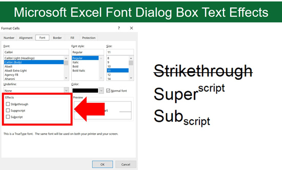 Examples of the different text effects inside the Format Cells dialog box in Excel