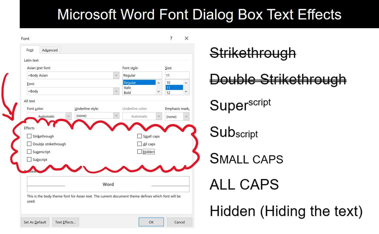 Examples of the different text effects options available in the Font dialog box in Microsoft Word