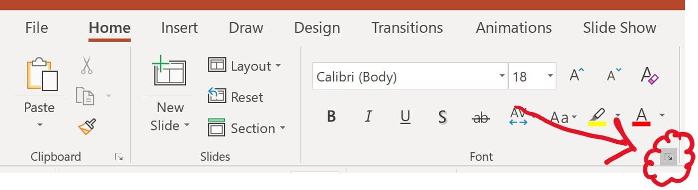 To open the font dialog box in PowerPoint, click the downward facing arrow in the Font group on the Home tab