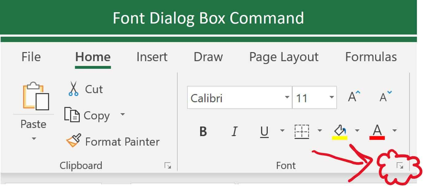 Open the Font dialog box in Excel by clicking the downward facing arrow in the Font group on the Home tab
