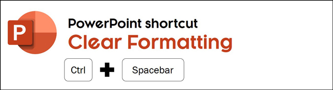 The clear formatting shortcut in PowerPoint is control plus spacebar
