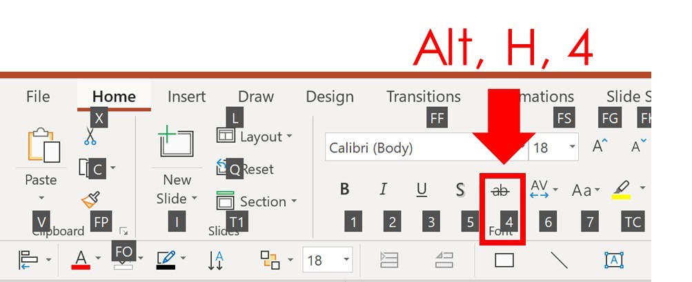 Screen shot of keyboard shortcut for strikethrough in PowerPoint using your Ribbon Guide for PC Users Only (Alt + H +4)