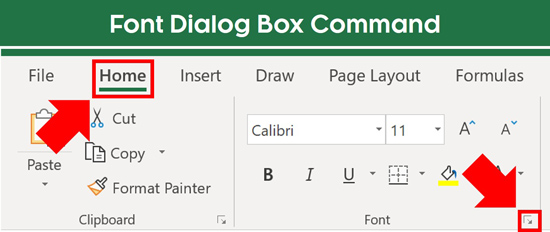 From the Home tab click the downward facing arrow in the Font group to open the format cells dialog box