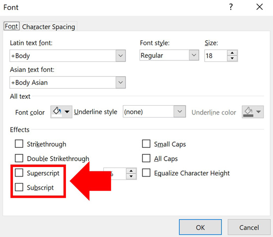 Inside the Font dialog box select the superscript or subscript formatting and click OK