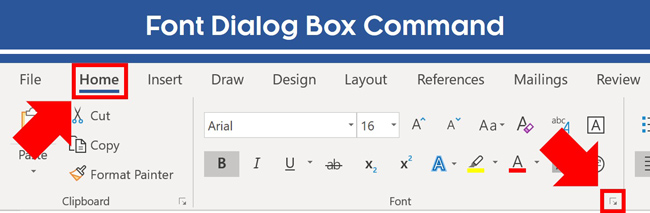 From the Home tab click the downward facing arrow in the Font group to open the Font dialog box