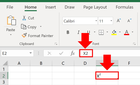 Superscript and subscript formatting only displays within the cells of your Excel spreadsheet, not in the formula bar