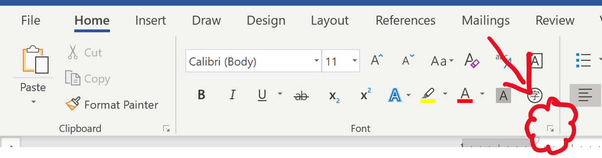 To open the Font dialog box in Word, click the dialog arrow in at the lower right-hand corner of the Font group from the home tab