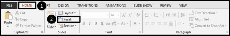 From the Home tab, click Reset to reset all of the placeholders on a slide (including your slide numbers)