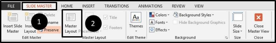 From the slide master tab open the Master Layout dialog box