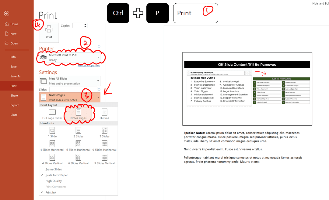 Steps to print your notes pages as a PDF using the Microsoft Print to PDF printer
