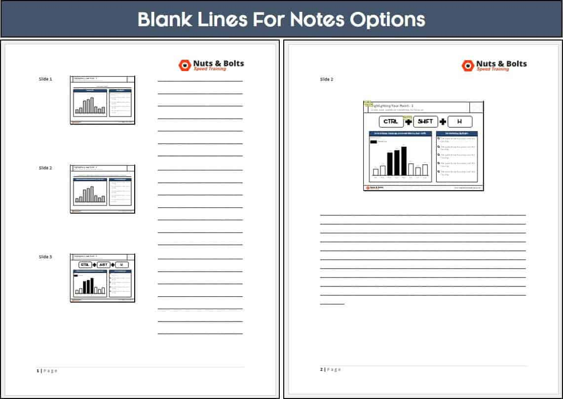 Example of PowerPoint notes in Word with blank lines