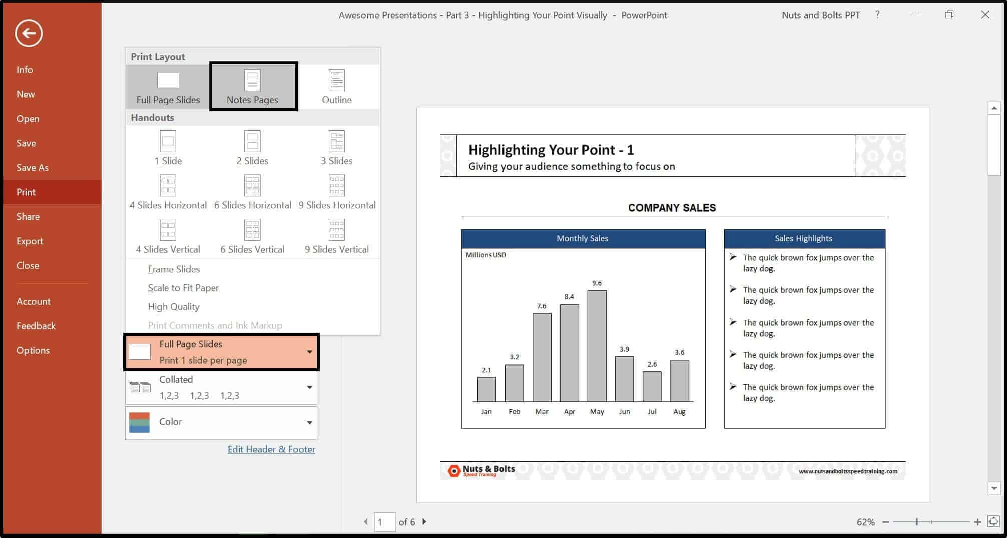 powerpoint to pdf without notes