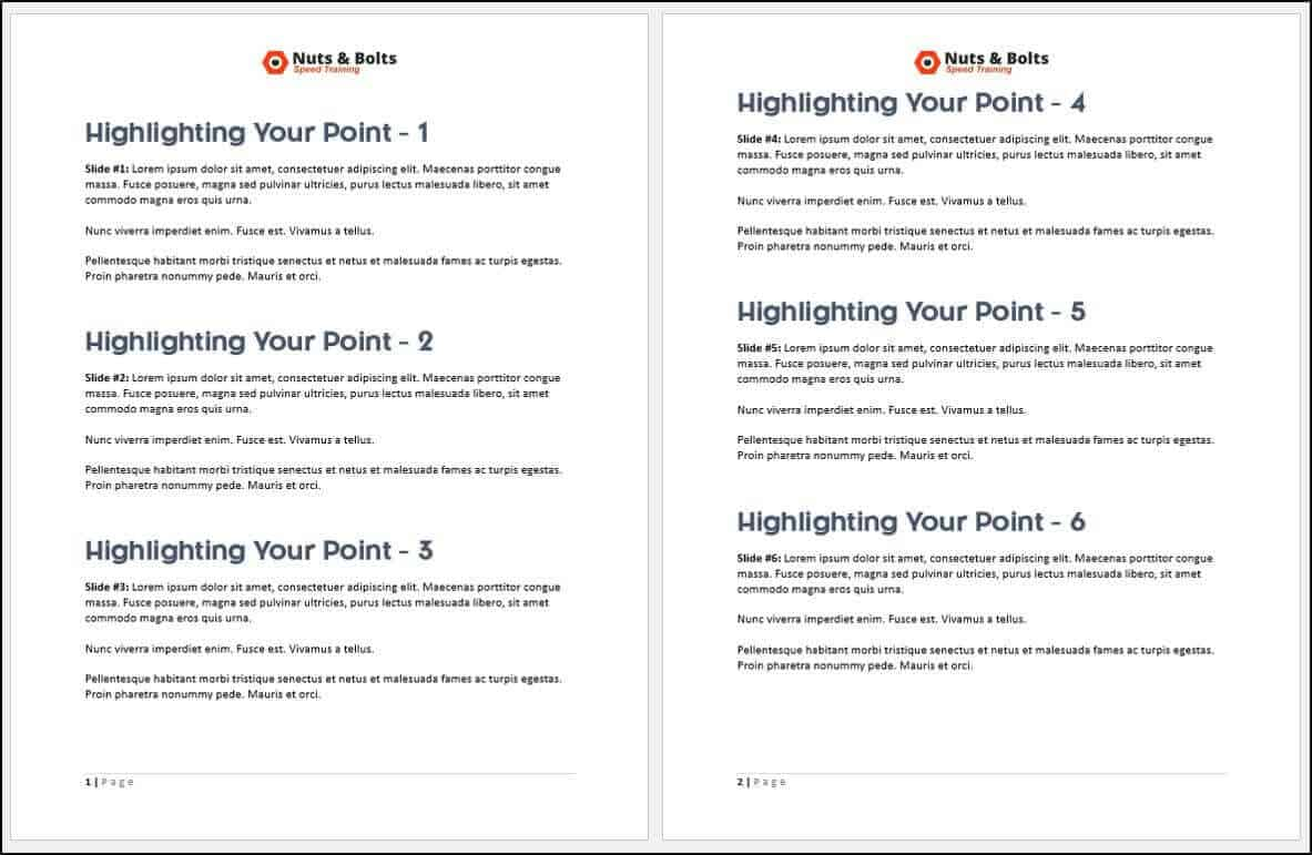 example of PowerPoint notes only (no slide thumbnail)