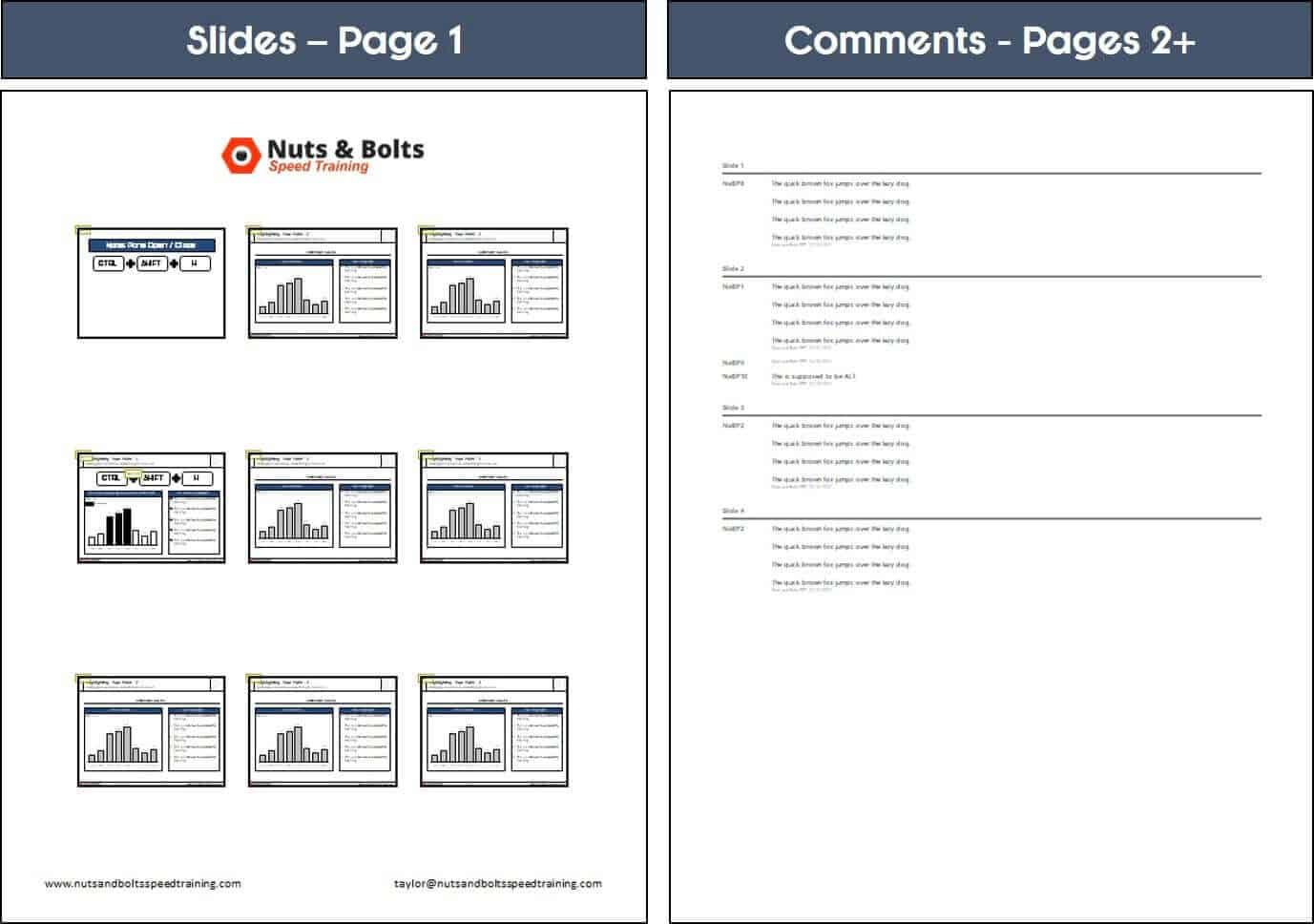 PowerPoint comments on second notes page