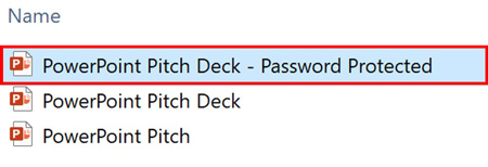 Find and open the password-protected presentation on your computer