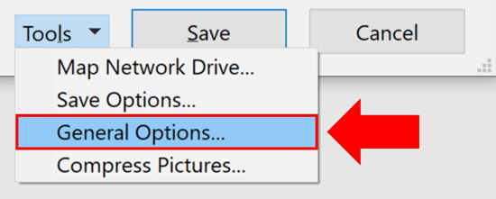From within the Tools dropdown select General Options