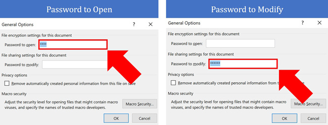 Select the password for either open or modify and delete it