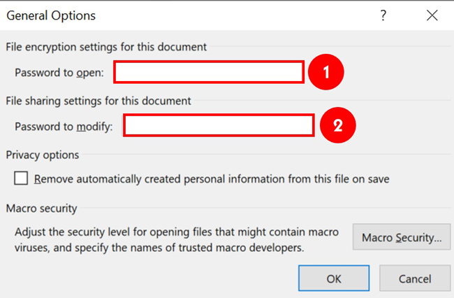 Enter a password to Open or Modify to protect your PowerPoint presentation
