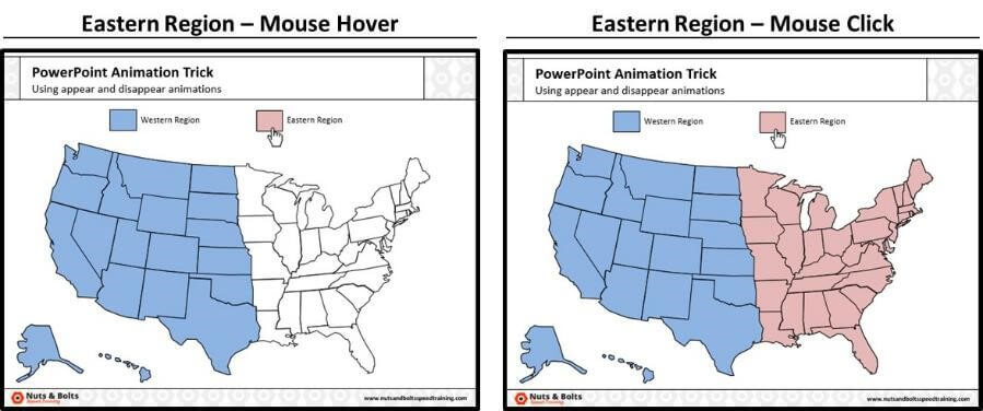 Run your presentation and double check that clicking the Eastern region rectangle makes the eastern region appear on your slide