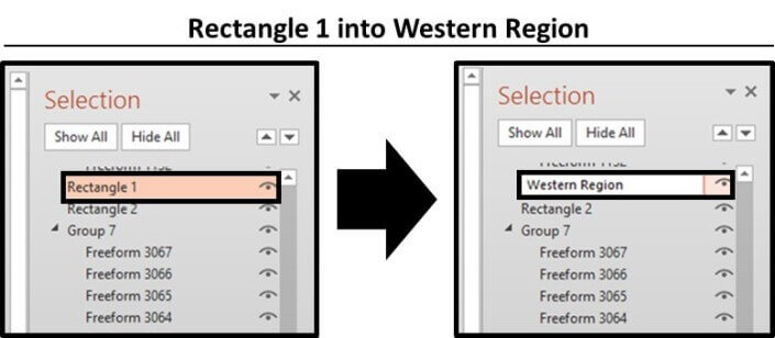 In the selection pane, rename the first object you want to use as button to make the different pieces on your slide appear and disappear. In this case, rectangle 1 becomes the Western Region