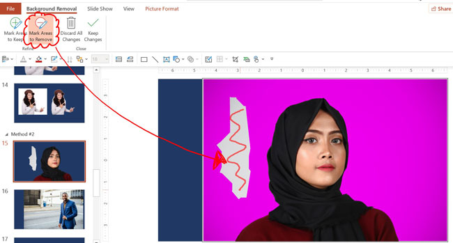 Select Mark Areas to remove and color in the areas of your photo that you do in fact want PowerPoint to remove from your image
