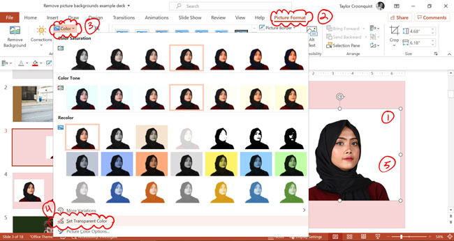 To remove a white background, select your picture, picture format tab, open the color drop down and select set transparent color and select that color in your image