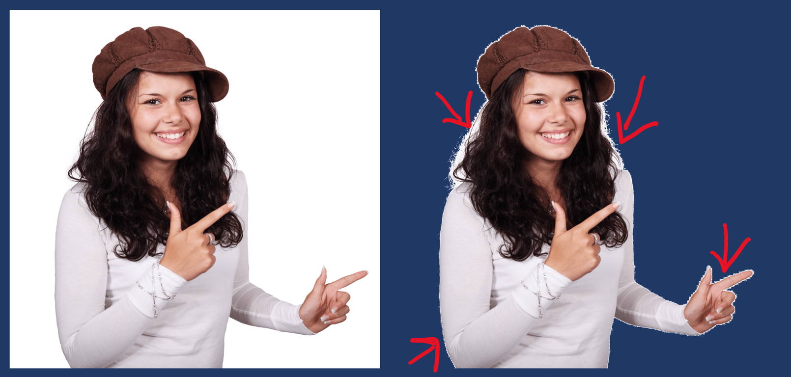 Removing a white background doesn't work well with minute details like strands of hair