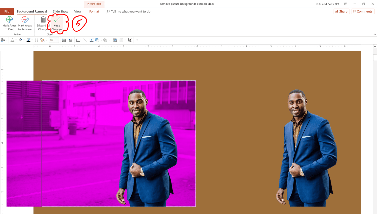 After selecting the background pieces that you want to remove (they will turn purple) click keep changes