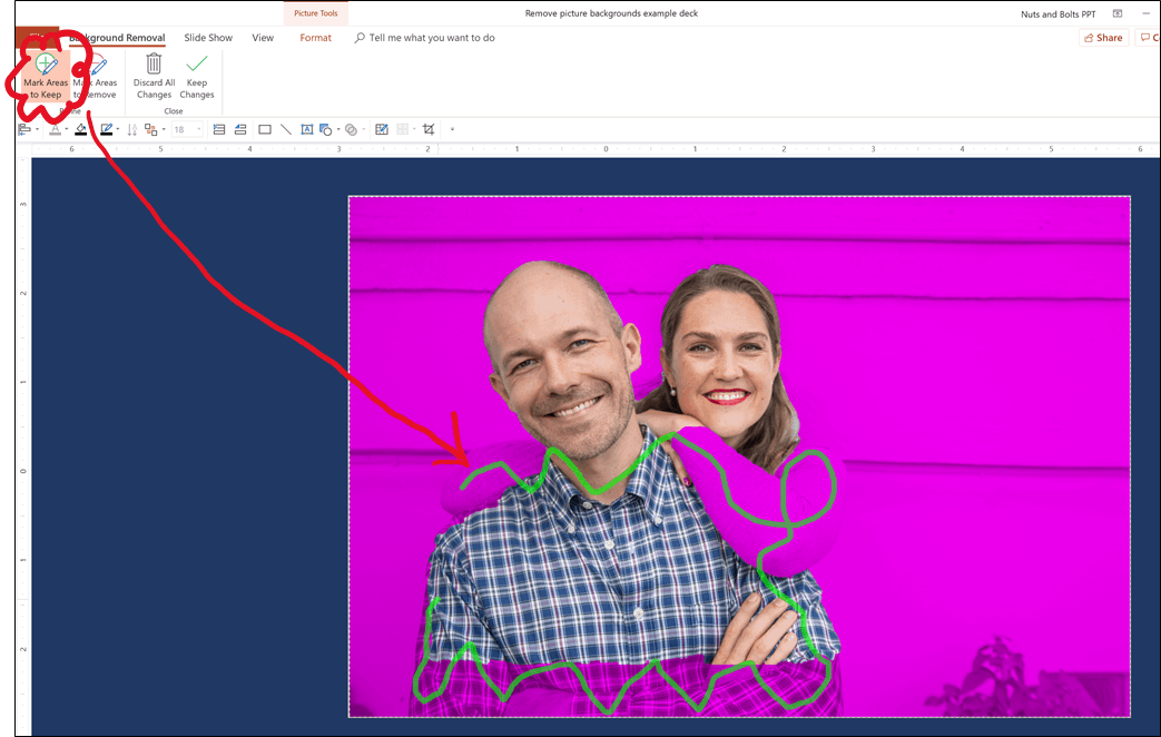 Use PowerPoint's Mark Areas to Keep command to adjust what PowerPoint keeps in your image